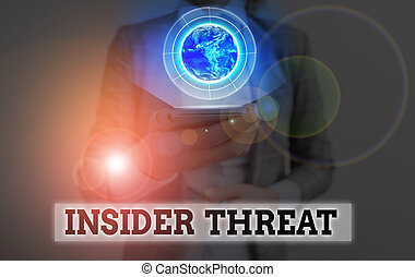 Conceptual hand writing showing Insider Threat. Business photo showcasing security threat that originates from within the organization Elements of this image furnished by NASA.