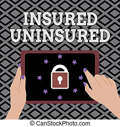 Conceptual hand writing showing Insured Uninsured. Business photo showcasing Company selling insurance Checklist to choose from
