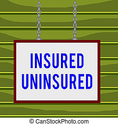 Conceptual hand writing showing Insured Uninsured. Business photo showcasing Company selling insurance Checklist to choose from Whiteboard rectangle frame attached surface chain panel.