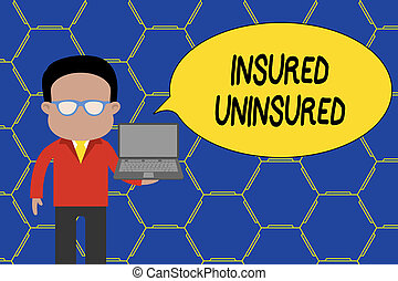 Conceptual hand writing showing Insured Uninsured. Business photo showcasing Company selling insurance Checklist to choose from Man in suit wearing eyeglasses holding open laptop photo Art.