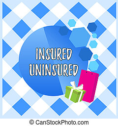 Conceptual hand writing showing Insured Uninsured. Business photo showcasing Company selling insurance Checklist to choose from Greeting Card Poster Gift Package Box Decorated by Bowknot.