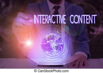 Conceptual hand writing showing Interactive Content. Business photo text It requires the participants active engagement Elements of this image furnished by NASA.