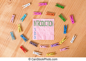 Conceptual hand writing showing Introduction. Business photo...