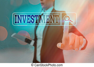 Conceptual hand writing showing Investment. Business photo text the outlay of money usually for income or profit : capital outlay Web search digital futuristic technology network connection.