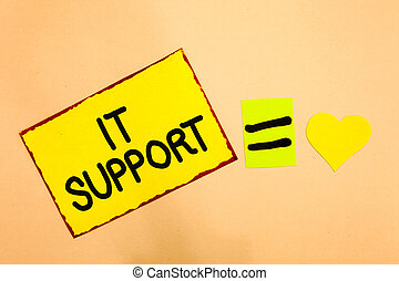 Conceptual hand writing showing It Support. Business photo...