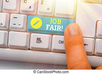 Conceptual hand writing showing Job Fair. Business photo ...