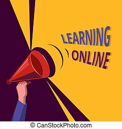 Conceptual hand writing showing Learning Online. Business photo showcasing Learn something new with the help of internet and technology