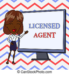 Conceptual hand writing showing Licensed Agent. Business photo text Authorized and Accredited seller of insurance policies White Female in Standing Pointing Whiteboard Presentation.