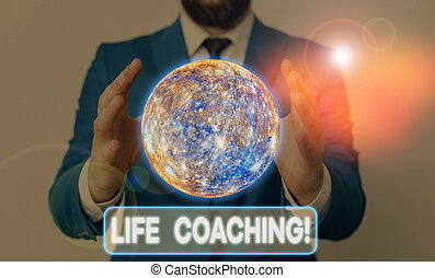 Conceptual hand writing showing Life Coaching. Business photo showcasing demonstrating employed to help showing attain their goals in career Elements of this image furnished by NASA.