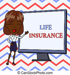 Conceptual hand writing showing Life Insurance. Business photo text Payment of death benefit or injury Burial or medical claim White Female in Standing Pointing Whiteboard Presentation.