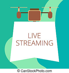 Conceptual hand writing showing Live Streaming. Business photo showcasing Transmit live video coverage of an event over the Internet Drone holding downwards banner Geometrical design.