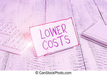 Conceptual hand writing showing Lower Costs. Business photo showcasing the business sets low price to enhance theproduct deanalysisd Notepaper on wire in between computer keyboard and sheets.