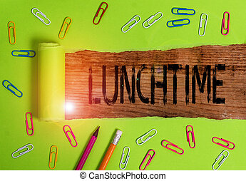 Conceptual hand writing showing Lunchtime. Business photo ...