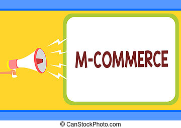 Conceptual hand writing showing M Commerce. Business photo...