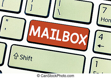 Conceptual hand writing showing Mailbox. Business photo showcasing Box mounted on post where mail is delivered Computer file for email