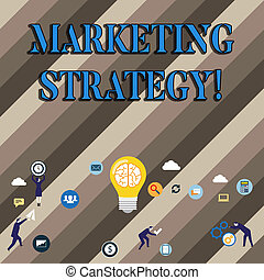 Conceptual hand writing showing Marketing Strategy. Business photo showcasing Plan Formula Creativity Research Organization.