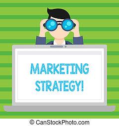 Conceptual hand writing showing Marketing Strategy. Business photo text Plan Formula Creativity Research Organization.