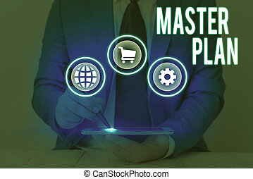 Conceptual hand writing showing Master Plan. Business photo text dynamic longterm planning document Comprehensive plan of action.