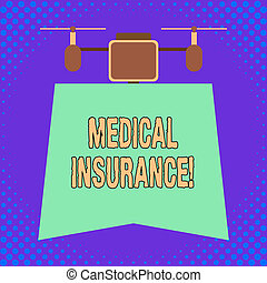 Conceptual hand writing showing Medical Insurance. Business photo showcasing reimburse the insured for expenses incurred from illness.