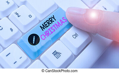 Conceptual hand writing showing Merry Christmas. Business photo text annual tradition to celebrate the birth of Jesus Christ.