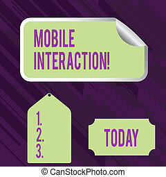Conceptual hand writing showing Mobile Interaction. Business photo showcasing the interaction between mobile users and computers Color Label Self Adhesive Sticker with Border Corner and Tag.
