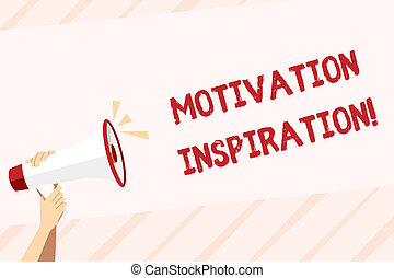 Conceptual hand writing showing Motivation Inspiration. Business photo text ability to change the way we feel about life Human Hand Holding Megaphone with Sound Icon and Text Space.