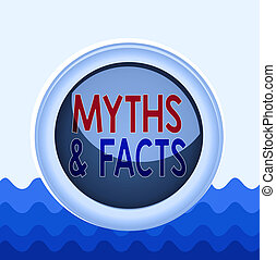 Conceptual hand writing showing Myths And Facts. Business photo showcasing usually traditional story of ostensibly historical events Colored sphere switch center background middle round shaped.