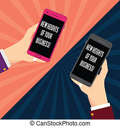 Conceptual hand writing showing New Heights Of Your Business. Business photo text Achieving goals fast growing up company Two Hu analysis Hands Holding Blank Smartphone on Sunburst.