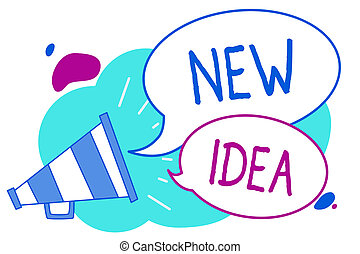 Conceptual hand writing showing New Idea. Business photo text A thought or conception refer to a product of mental activity Megaphone loudspeaker loud screaming idea talking speech bubbles.