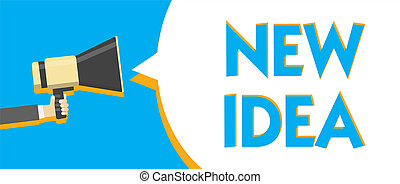 Conceptual hand writing showing New Idea. Business photo text A thought or conception refer to a product of mental activity Man holding Megaphone loudspeaker loud talk talking speech bubble.