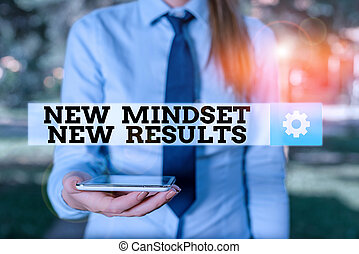 Conceptual hand writing showing New Mindset New Results. Concept meaning obstacles are opportunities to reach achievement Business woman in shirt holding laptop and mobile phone