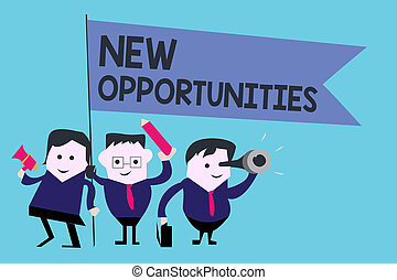 Conceptual hand writing showing New Opportunities. Business photo text A situation that makes it possible to do something