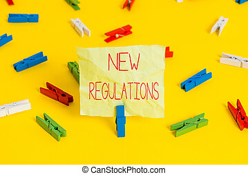 Conceptual hand writing showing New Regulations question. Business photo text rules made government order to control way something is done.