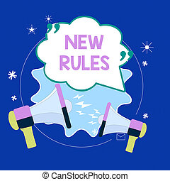 Conceptual hand writing showing New Rules. Concept meaning recently one of a set of explicit or understood regulations Blank Speech Bubble with Quotation Mark Megaphones shouting