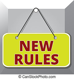 Conceptual hand writing showing New Rules. Concept meaning recently one of a set of explicit or understood regulations Memo reminder empty board attached background rectangle