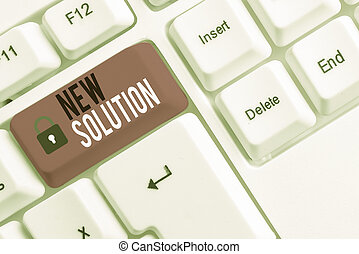 Conceptual hand writing showing New Solution. Business photo showcasing Modern Innovation Latest effective approach to a problem White pc keyboard with note paper above the white background.