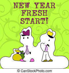 Conceptual hand writing showing New Year Fresh Start. Business photo showcasing Time to follow resolutions reach out dream job Figure of Two Men Standing with Pouch Bag White Snow Effect.