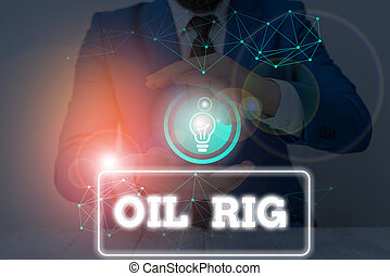 Conceptual hand writing showing Oil Rig. Business photo text large structure with equipment to remove oil from under the seabed.