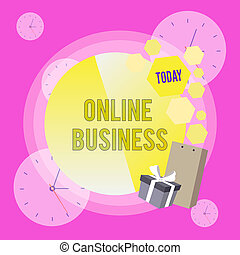 Conceptual hand writing showing Online Business. Business photo showcasing Commercial transaction sharing information in the internet Greeting Card Poster Gift Package Box Decorated by Bowknot.