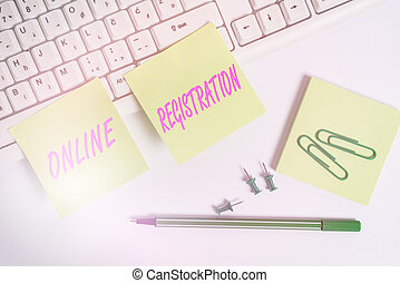 Conceptual hand writing showing Online Registration. Business photo text Process to Subscribe to Join an event club via Internet Empty note paper and paper clips with pencil on white background.
