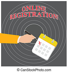 Conceptual hand writing showing Online Registration. Business photo text Process to Subscribe to Join an event club via Internet Formal Suit Crosses Off One Day Calendar Red Ink Ballpoint Pen.