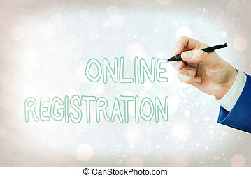 Conceptual hand writing showing Online Registration. Business photo text Process to Subscribe to Join an event club via Internet.