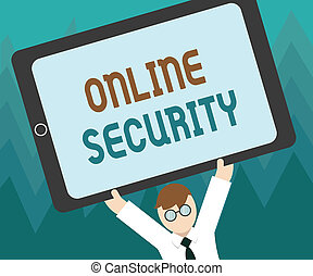 Conceptual hand writing showing Online Security. Business photo showcasing rules to protect against attacks over the Internet