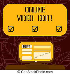 Conceptual hand writing showing Online Video Edit. Business photo text taking away clips of that video that are not necessary Mounted Computer Screen with Line Graph on Desk Text Box.