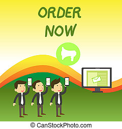 Conceptual hand writing showing Order Now. Business photo text the activity of asking for goods or services from a company SMS Email Marketing Media Audience Attraction PC Loudspeaker.