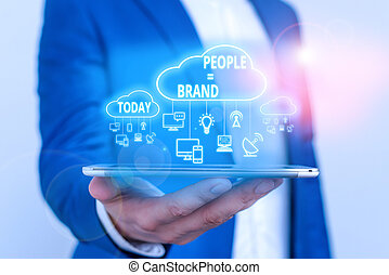 Conceptual hand writing showing People Brand. Business photo...