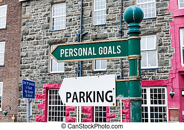 Conceptual hand writing showing Personal Goals. Business photo showcasing Target set by a demonstrating to influence his efforts Motivation Advertisement concept with empty copy space on the road sign.