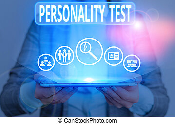 Conceptual hand writing showing Personality Test. Concept meaning A method of assessing huanalysis demonstratingality constructs