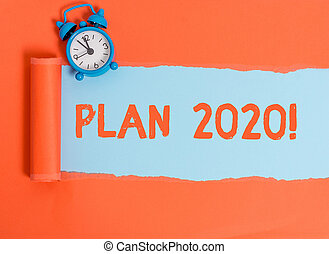 Conceptual hand writing showing Plan 2020. Concept meaning detailed proposal doing achieving something next year