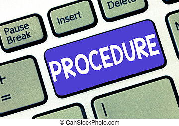 Conceptual hand writing showing Procedure. Business photo showcasing Established official way of doing something Rules Guidelines